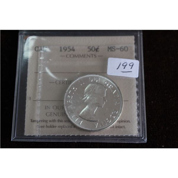 Canada Fifty Cent Coin - 1954, Silver; Graded MS60