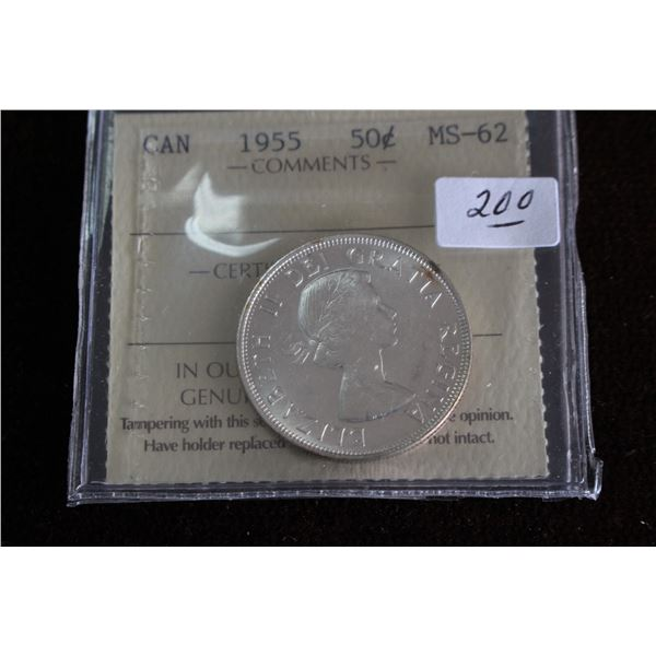 Canada Fifty Cent Coin - 1955, Silver; Graded MS62