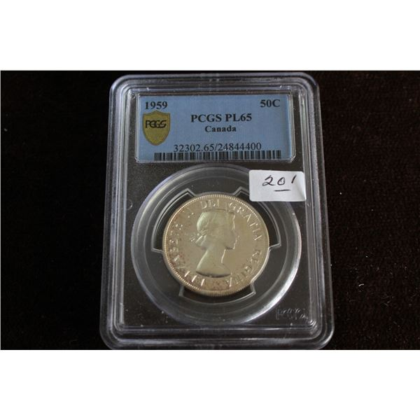 Canada Fifty Cent Coin - 1959, Silver; Graded PCGS PL65