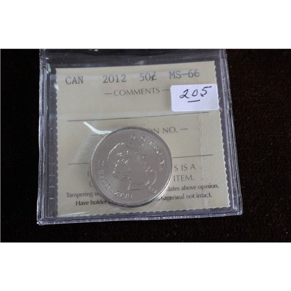 Canada Fifty Cent Coin - 2012; Graded MS66
