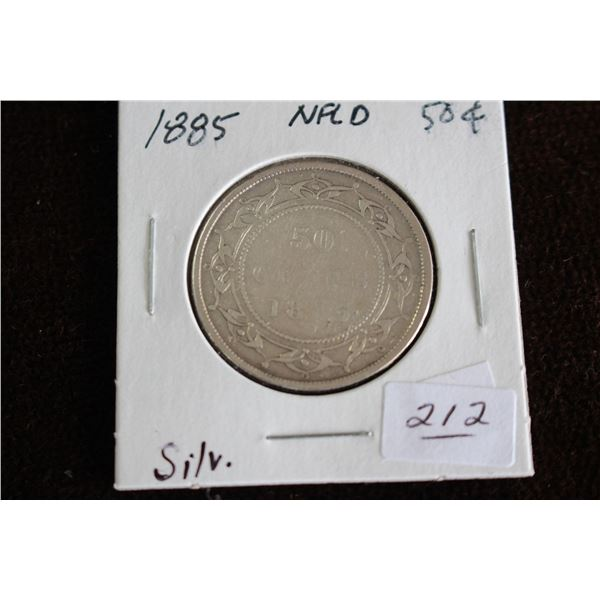 Newfoundland Fifty Cent Coin - 1885, Silver