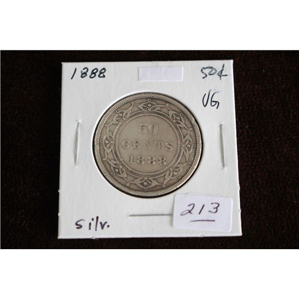 Newfoundland Fifty Cent Coin - 1888, VG, Silver