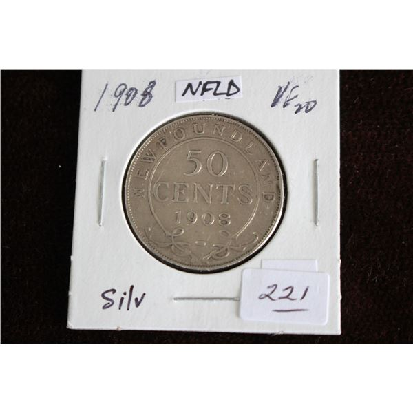 Newfoundland Fifty Cent Coin - 1908, VF20, Silver
