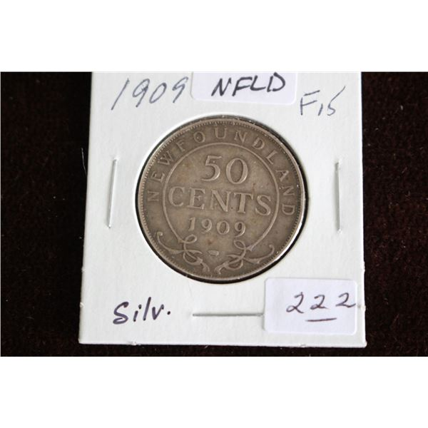 Newfoundland Fifty Cent Coin - 1909, F15, Silver