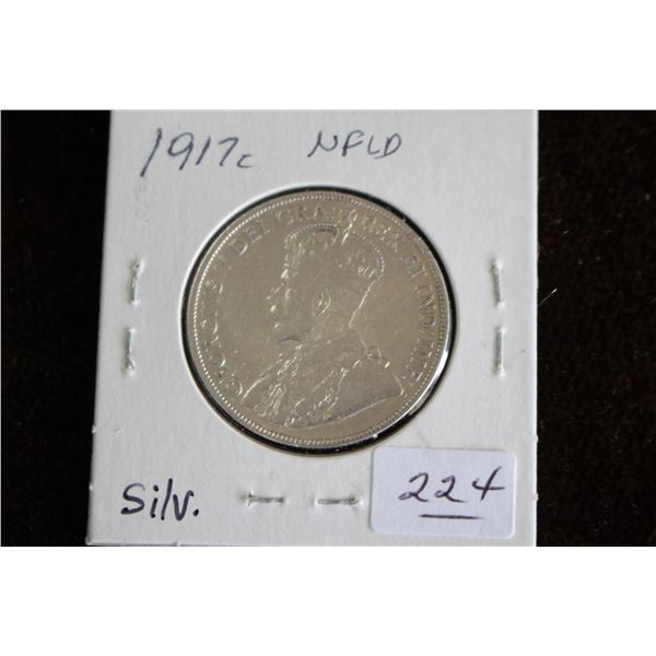Newfoundland Fifty Cent Coin - 1917c, Silver