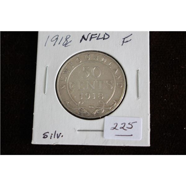 Newfoundland Fifty Cent Coin - 1918c, F, Silver