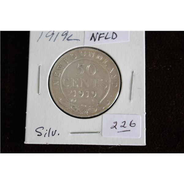 Newfoundland Fifty Cent Coin - 1919c, Silver