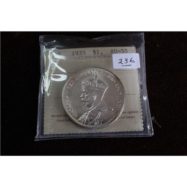 Canada One Dollar Coin - 1935; Graded AU55
