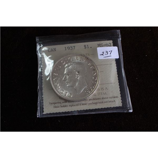 Canada One Dollar Coin - 1937; Silver; Graded MS62
