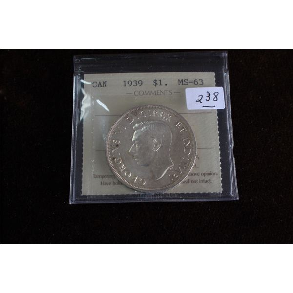 Canada One Dollar Coin - 1938; Silver; Graded MS63