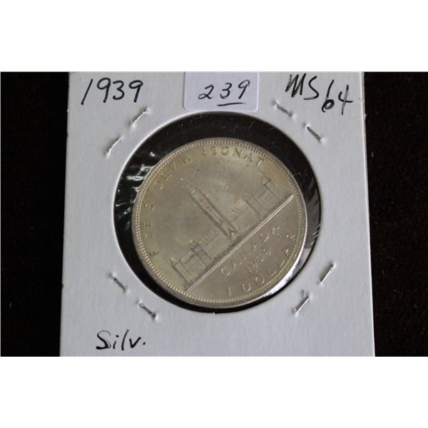 Canada One Dollar Coin - 1939; Silver; MS64