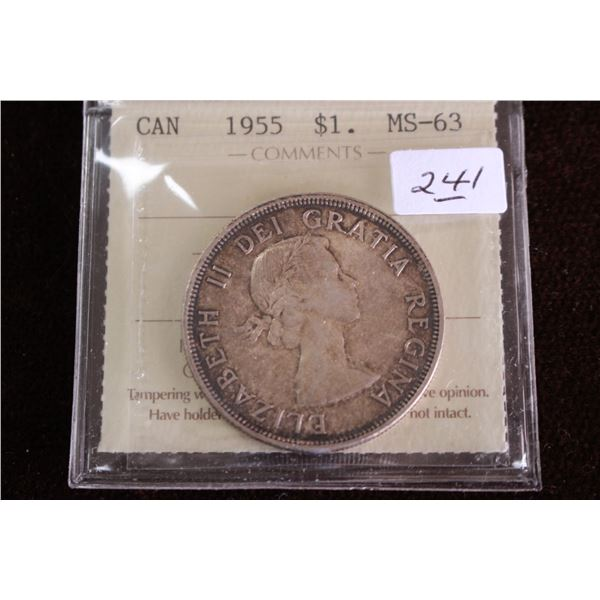 Canada One Dollar Coin - 1955, Silver; Graded MS63