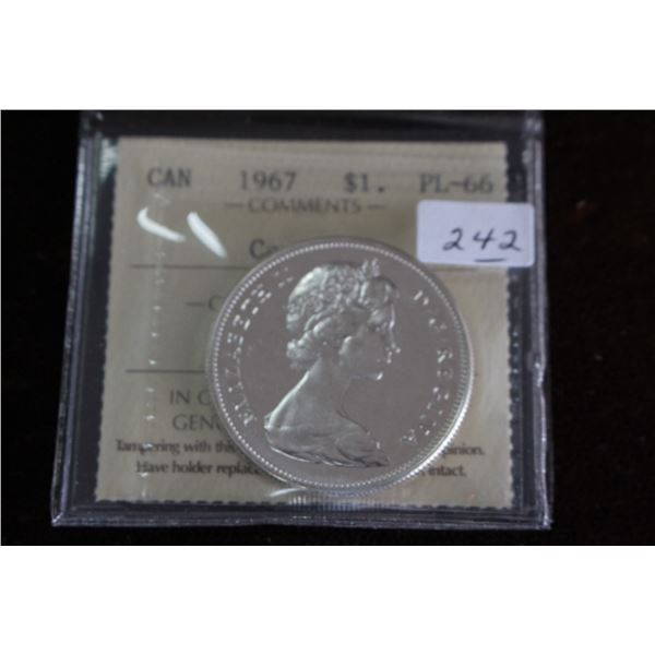 Canada One Dollar Coin - 1967, Silver; Graded PL66