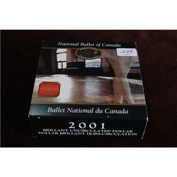 Canada One Dollar Coin - 2001, Silver, BU