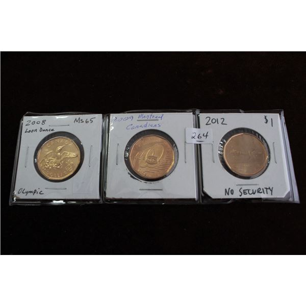 Canada One Dollar Coins (3) - 2008 'Loon Dance'; 2009 'Montreal Canadians' & 2012 (No Security)