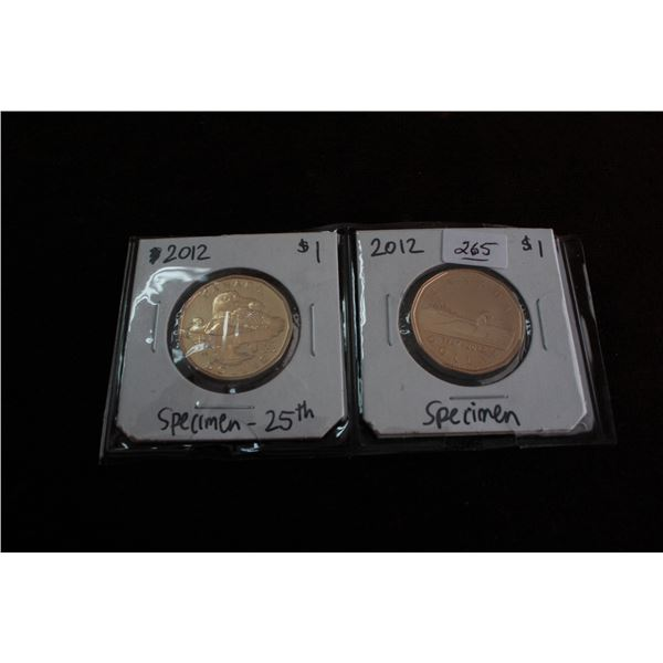 Canada One Dollar Coins (2) - 2012 - Specimen 25th; 2012 - Specimen