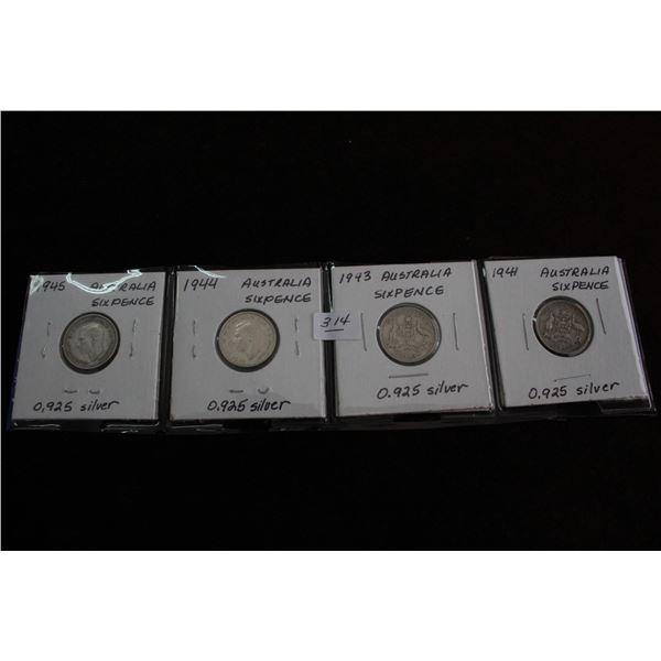 Australian Six Pence (4) - 1945, 1944, 1943, 1941; .925 Silver