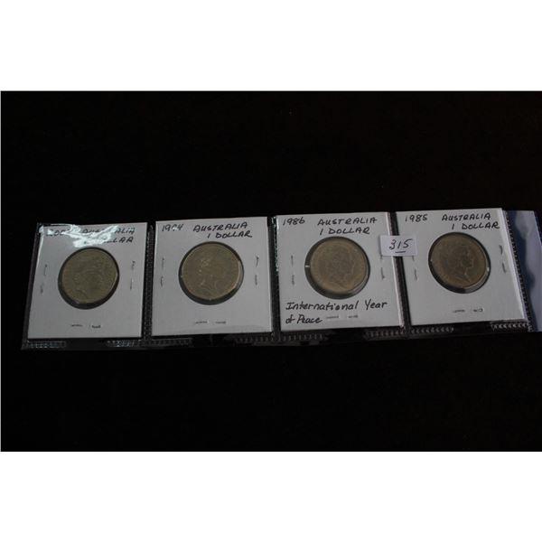 Australian One Dollar Coins (4) - 2006, 1994, 1986, 1985