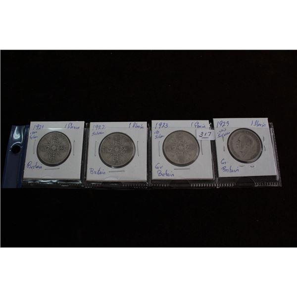 Great Britain Florin Coins (4) - 1921, 1922, 1923, 1929; Silver