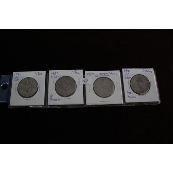 Great Britain Coins (4) - 3 Florins (2 x 1921, 1x 1929) & 2 Shilling Coins - 1940; All are Silver