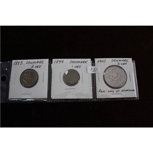 Denmark 'Ore' Coins (3) - Different Values: 1883 - 2 Ore; 1899 - 1 Ore; 1941 - 5 Ore (only year made