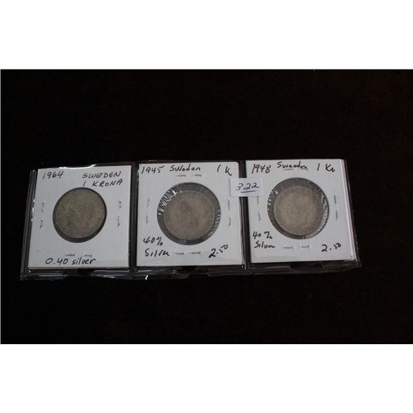 Sweden Krona Coins (3) - 1964, 1945, 1948 (40% Silver)