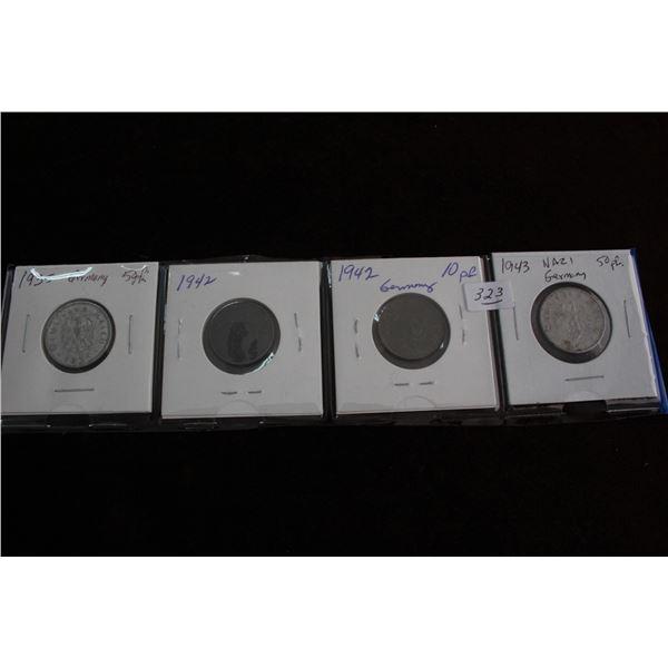 German Pfennig Coins (4) - 1935 - 5pf; 1942 - 10pf; 1942 - 10 pf & 1942 - 50 pf