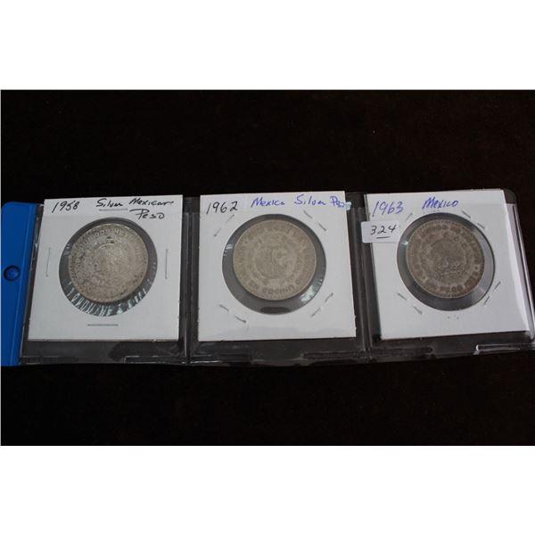 Mexican Peso Coins (3) - 1958, 1962, 1963; Silver