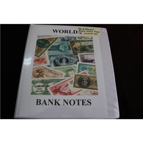 World Bank Notes in a Binder (42 Notes) - 18 Countries