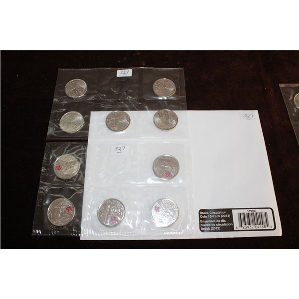 Lot of 4 Circulation Coins - 10 packs (each pack has 5 Colored & 5 Not Colored Coins)