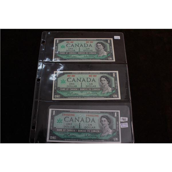 Canada One Dollar Bills (3) - 1967, (2) 1867-1967; All Choice Unc.
