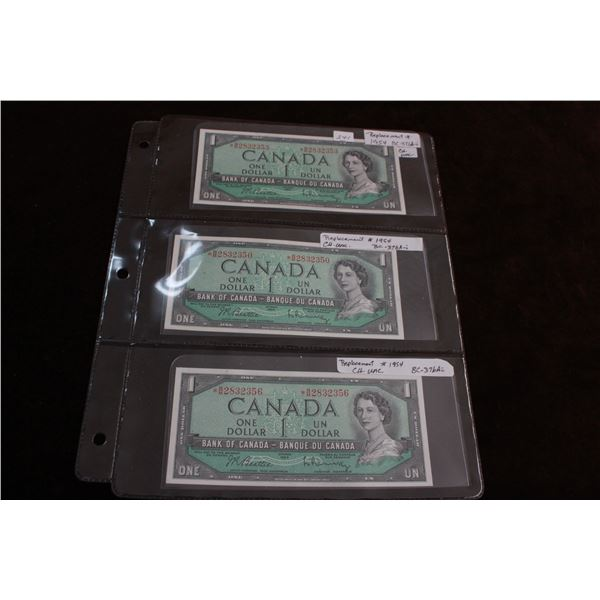 Canada 1954 Replacement Bills (3); Choice Unc.