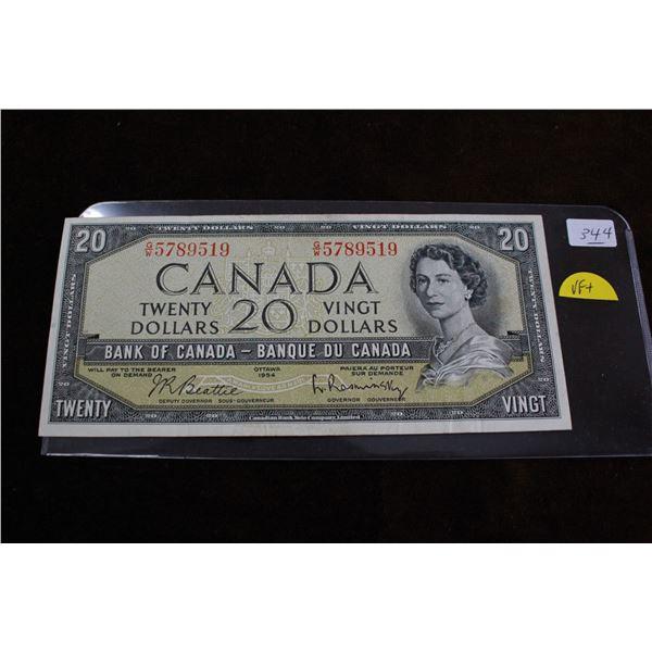 Canada Twenty Dollar Bill - 1954; VF+