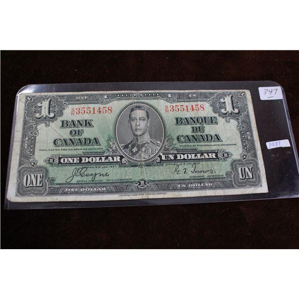Canada One Dollar Bill - 1937