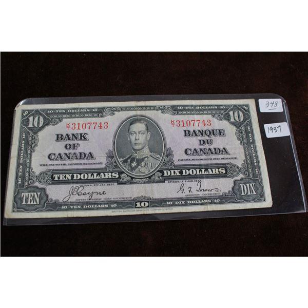 Canada Ten Dollar Bill - 1937