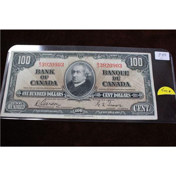 Canada One Hundred Dollar Bill - 1937; Fine+