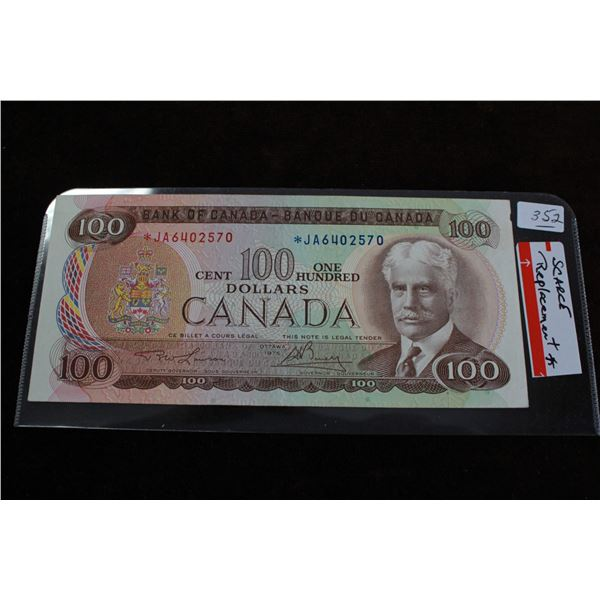 """Canada One Hundred Dollar Replacement bill - 1975 """"Scarce"""""""