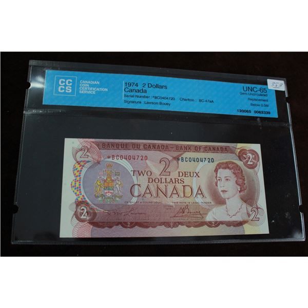 Canada Two Dollar Replacement Bill - 1974; Unc.-65 Gem
