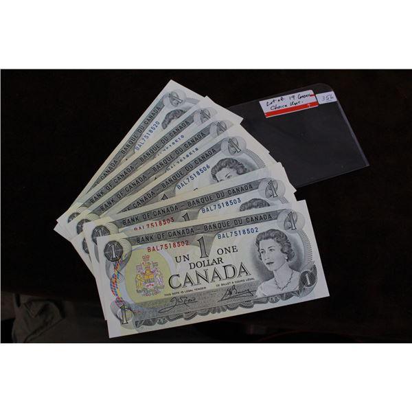 Canada One Dollar Bills (19) - 1973; Consecutive; Choice Unc.