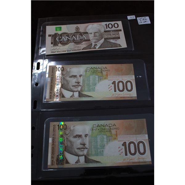 Canada One Hundred Dollar Bills (3); Choice Unc.