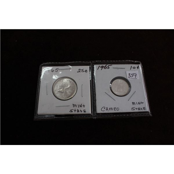 Canada Twenty-five Cent Coin (1) & Ten Cent Coin (1) - 1965