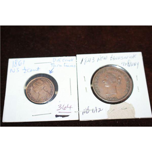 Nova Scotia Half Cent (1861) and New Brunswick Half Penny (1843)