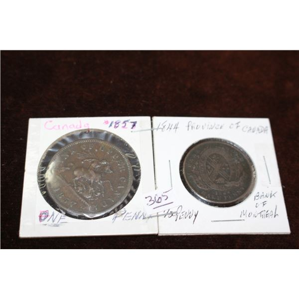 Bank of Upper Canada One Penny Token (1857) and Bank of Montreal Half Penny (1844)
