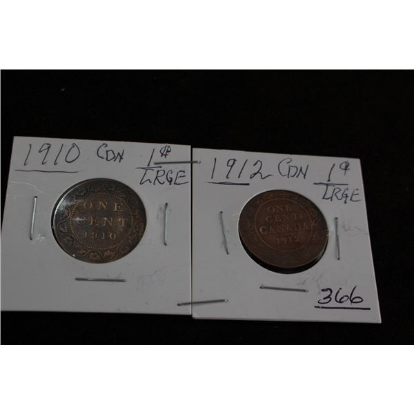 Canada Large Cents (2) - 1910 and 1912