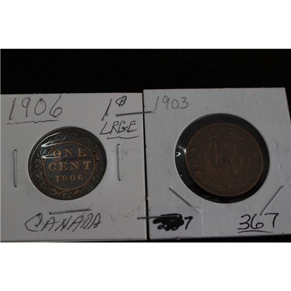 Canada Large Cents (3) - 1903 and 1906