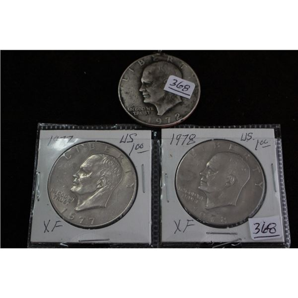 U.S. Eisenhower One Dollar Coins - 1977, 1978 and a 1972 with Chain Loop