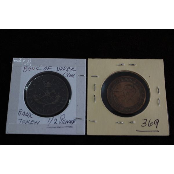 Canada One Cent (1902) and Canada Half Penny Token (1852)
