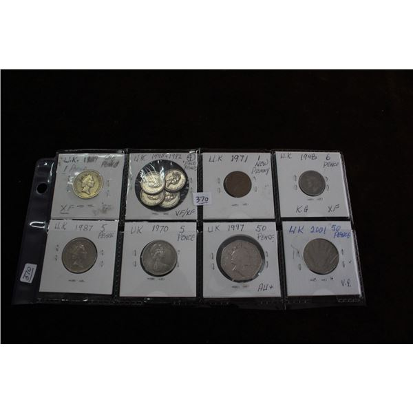 United Kingdom Coins - 11 Different Denominations and Years