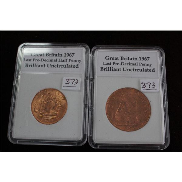 Great Britain Pre-Decimal Half Penny - 1967 & Pre-Decimal Penny - 1967; Brilliant Unc.