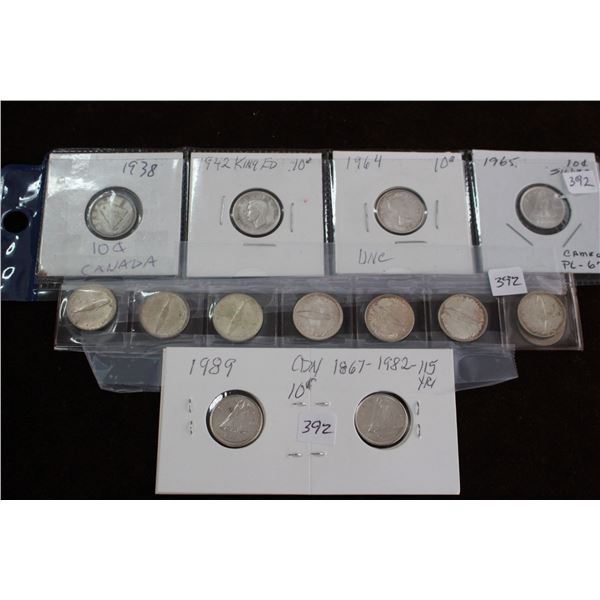 Canada Ten Cent Coins - 12 Silver and 2 Nickel